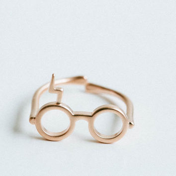 rose gold matt Harry Potter glasses ring,ring,harry potter jewelry,geekery,glasses ring,lightning ring,Harry Potter Ring,,handmade,cute ring
