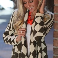 Sweet Diamond Cardigan Olive - Modern Vintage Boutique