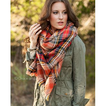 Grace & Lace Blanket Scarf/Toggle Poncho™ in Orange Plaid