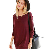 Long Sleeves Round Neck Ribbed Shift Dress