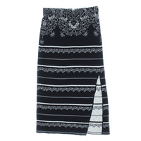 Free People Womens Slit Embroidered Knit Skirt