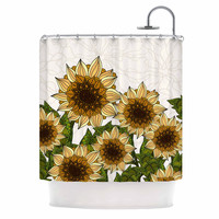 "Art Love Passion ""Sunflower Field"" Beige Yellow Shower Curtain"
