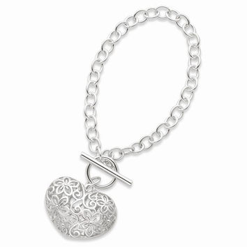 Sterling Silver Puffed Heart Toggle Bracelet