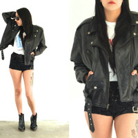 Vintage 80s LEATHER Black Belted MOTORCYCLE Biker Jacket // Hipster Boho Gypsy // XS Extra Small / Small / Medium