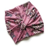 Dusty Mauve Floral Wide Headband