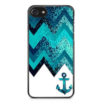 Chevron Navy Anchor Sparkly iPhone 7 Case