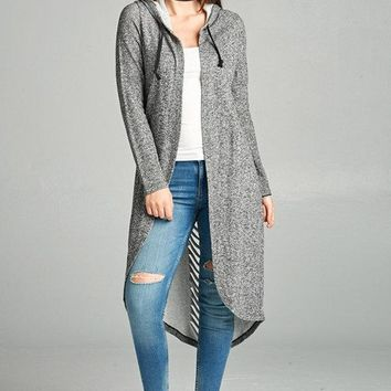 Distressed Back Hoody Cardigan - Charcoal Gray