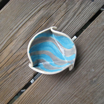Blue Grey Dish - Little Ceramic Dish - Striped Bowl - Sauce Dish - Ceramics and Pottery - Tiny Pet Dish - Jewelry Dish - Decor for Teens