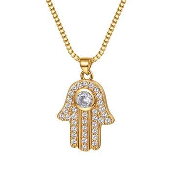 Hamsa Hand Pendant Necklace Cubic Zirconia & Box Chain Amulet Hand of Fatima Jewelry