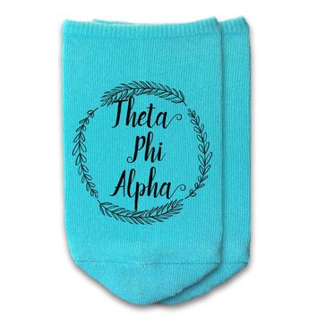 Theta Phi Alpha - Sorority Name with Wreath No-Show Socks