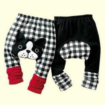 Free Shipping Cheapest Baby Pants Toddler PP Pant Babywear Grid Dog Newborn PP Warmers Tights Panties Baby Clothes 4colors L209
