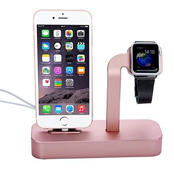 Apple Watch Stand, Kartice®2 in 1 Premium Aluminum Charging Dock Station Stand Holder for Apple Watch iWatch & iPhone5/5S/6/6Plus, iWatch BASIC/SPORT/EDITION Model--Rose Golden