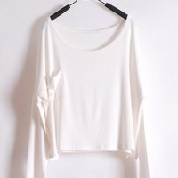*Free Shipping* Ladies White Cotton T-Shirt Top One Size T012w from efoxcity