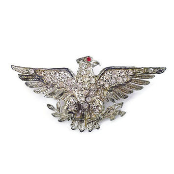 Little Nemo Brooch, American Eagle, Rhinestone Pin, Silver Pot Metal, Patriotic USA, Vintage Jewelry
