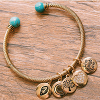 Hello Fall Charm Bracelet - Gold