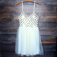 chevron sequin darling party dress with tulle skirt - cream