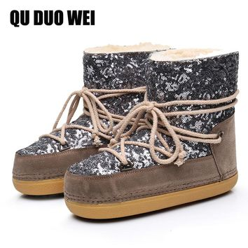 2018 New Women Space Boots Cashmere Warm Fur Sequins Women Snow Boots For Woman Shiny Bling Flat Platform Shoes Ladies Ski Shoes