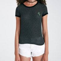 Striped Baby Tee With Cactus Patch | Wet Seal