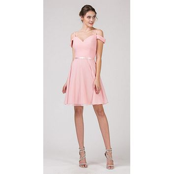 Cold-Shoulder Short Homecoming Dress Blush