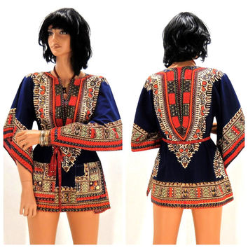 Vintage 70s dashiki size S / M, boho hippie mini tunic dress, 1970s African tribal dashiki dress / top, SunnyBohoVintage