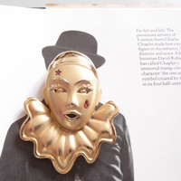 Vintage 1980s Brooch Pin Clown Harlequin Circus Comedy Gold Tone Unsigned