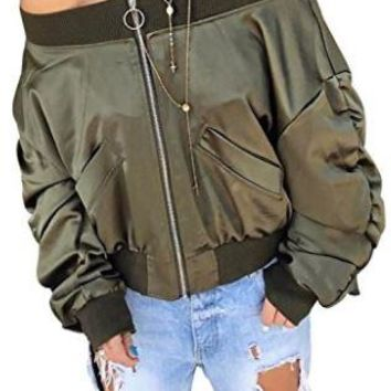 Unabomber Off Shoulder Bomber Jacket w Pockets