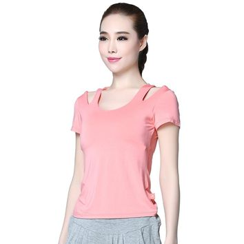 PIERYOGA Short Sleeve Shirt 41343MJ Peach Yoga Top Women Clothes With Chest Pad For Sports Fitness Dance Running