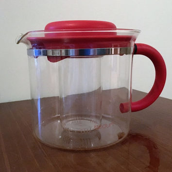 Vintage 1970s Bodum Red 4 Cup Glass Teapot / Glass Coffee Pot / Retro Tea Infuser