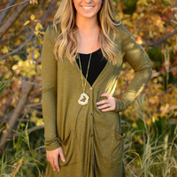 Just for Tonight Cardigan - Olive