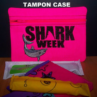 SHARK WEEK Tampon and Feminine Pad Holder / Neon Pink Zippered Fabric Purse Pouch / Tampon Keeper
