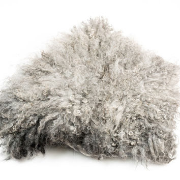 Wool Fleece Felted Rug / Carpet in Organic Shape, Raw curl pelt