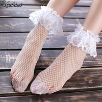 3 Colors.Sweet Women's Breathable Hem Lace Fishnet Socks.Cute Ladies Girl's Lolita Fishnets Hollow out Mesh Nets Lace Socks Sox