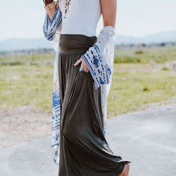 Sundown Pocket Maxi Skirt - Olive