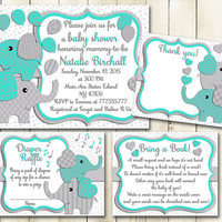 Turquoise grey Elephant baby shower printable invitation set gender neutral baby boy girl digital invite with inserts Diaper Raffle card