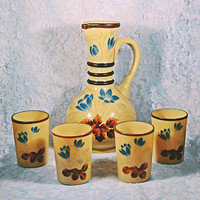 Victorian Bristol Glass Pitcher And Tumblers, Opaque Caramel Coloured Glass, Antique Glass With Enamel Overlay