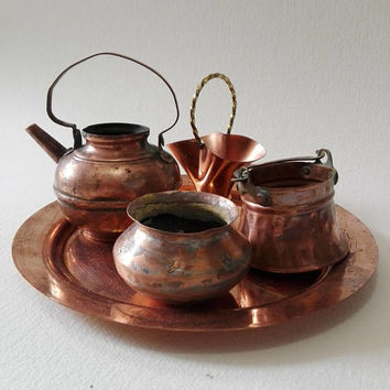 Set of 5, French kitchen decor, small pot, vintage copper, tray, vintage copper, kitchen utensil, french vintage, farmhouse, cottage decor