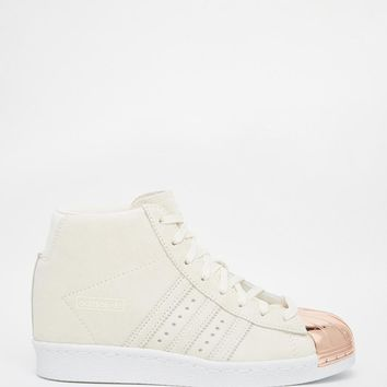 Adidas | adidas Originals Off White Suede Superstar Up Metal Toe Cap Sneakers at ASOS