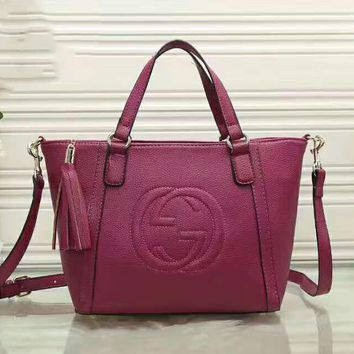 GUCCI Big Double G Tassel Women Shopping Leather Handbag Tote Satchel Crossbody Shoulder Bag Purple