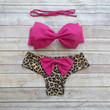 Amazing Bow Bikini Swimwear with Brazilian Style Bottoms and Cute Bow on Butt in Pink and Leopard Print