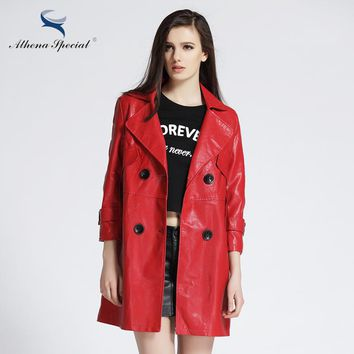 New Designer Trench Leather Coats For Women Elegant Ladies' Casual PU Faux Leather Basic Jackets Hot Sale