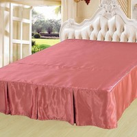 "DaDa Bedding Dusty Rose Shiny Pink Dust Ruffle Pleated Bed Skirt - Cal King - 14"" Drop (BS-BM4576)"