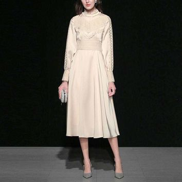Elegant Retro Wind Lace Patchwork Long Lantern Sleeve Cream Midi Dress