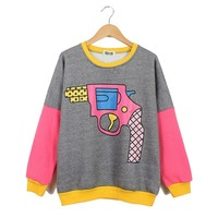 Long Sleeve Contrast Trims Gun Print Sweatshirt
