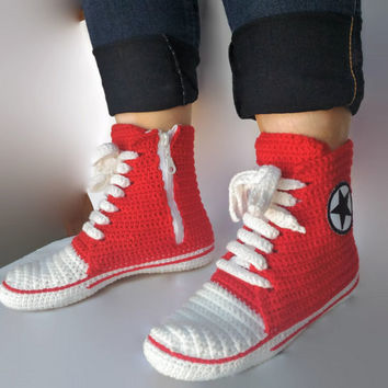 Red Converse Slippers, Crochet Red Converse. Women and Man Converse Shoes. Booties, Crochet House Shoes, all star slippers, Custom Converse