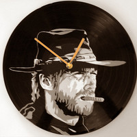 Clint Eastwood vinyl record clock