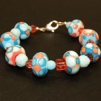 Blue and pink glass bead and Swarovski crystal bracelet