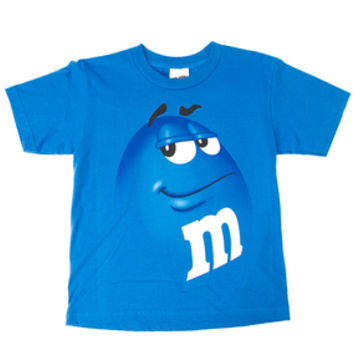 M&M's Candy Character Face T-Shirt - Adult - Blue - Small