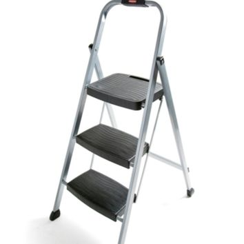 Rubbermaid RM-3W Folding 3-Step Steel Frame Stool with Hand Grip and Plastic Ste