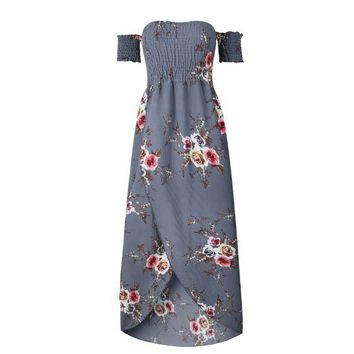 Gray Summer print long paragraph dress