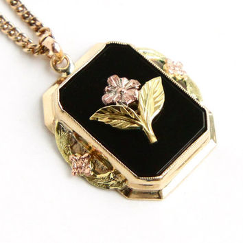 Antique 10k Gold Flower Necklace -  Edwardian Art Nouveau Onyx Black Stone Rose Gold Floral Pendant Fine Jewelry / Forget Me Not